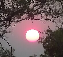 Sunset through the bush fire haze by Lillydale1