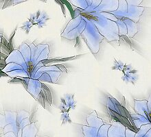Blooming Flowers, Petals, Leaves - Green Blue by sitnica