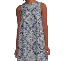 Blue and White Portuguese Ceramic Tile Pattern A-Line Dress