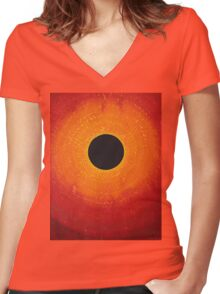 Black Hole Sun original painting Women's Fitted V-Neck T-Shirt