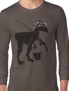 Funny fly fishing dinosaur Long Sleeve T-Shirt