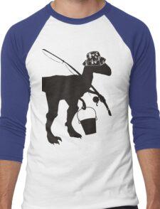 Funny fly fishing dinosaur Men's Baseball ¾ T-Shirt