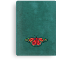 Butterfly in Jewel Colors on Teal Linen Canvas Print