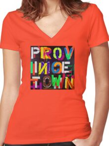 """Provincetown at Night"" Dave Hay • haydave.com Women's Fitted V-Neck T-Shirt"