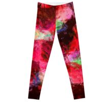 Red Flowers in Glass Reflection Leggings