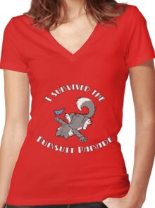 I Survived The Fursuit Parade (Canine) Women's Fitted V-Neck T-Shirt