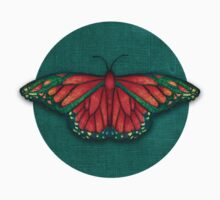 Butterfly in Jewel Colors on Teal Linen Kids Clothes