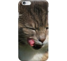 Tabby cat licking lips iPhone Case/Skin