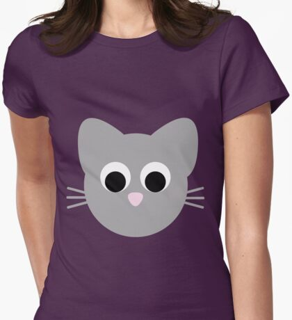 Cute Minimal Cat Womens Fitted T-Shirt