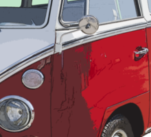 Red And White VW 21 window Mini Bus Sticker
