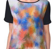 Abstract Blue and Orange Flower/Nature Edit Chiffon Top