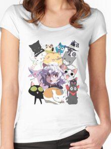 Anime Manga Cats Shirt Women's Fitted Scoop T-Shirt