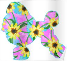 Poodle Watercolor Sunflowers Poster