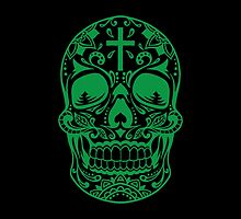 Sugar Skull, Day Of the Dead, Halloween Green SugarSkull by carolinaswagger