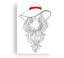 Girl with Long Hair and Hat  Canvas Print