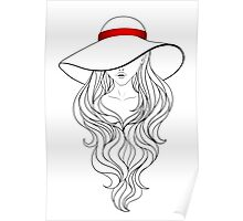 Girl with Long Hair and Hat  Poster