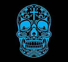 Sugar Skull, Day Of the Dead, Halloween Teal SugarSkull by Carolina Swagger