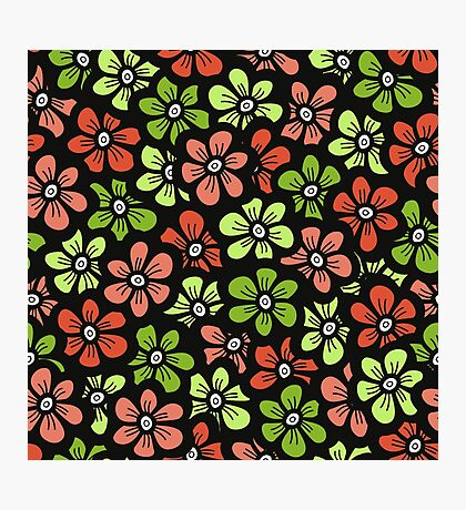 Green and orange doodle flower Spring pattern. Seamless cute blossom background.  Photographic Print