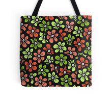 Green and orange doodle flower Spring pattern. Seamless cute blossom background.  Tote Bag