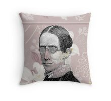 Geeky Steampunk Woman Glasses Pink Flowers Throw Pillow