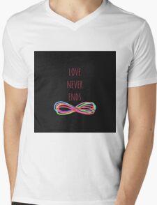 Love Never Ends (black) Mens V-Neck T-Shirt