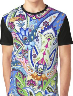 Blue Boho Floral Pattern Graphic T-Shirt