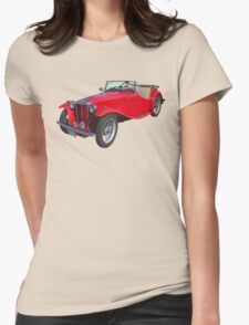 Red MG Convertible Antique Car Womens Fitted T-Shirt