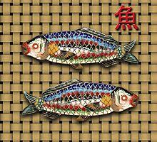 Antique Japanese Fish Brooch by Kawka