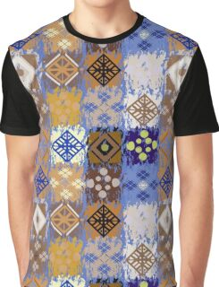 Blue & Gold Boho Patchwork Pattern Graphic T-Shirt