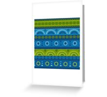 Green & Blue Boho Geometric Pattern Greeting Card