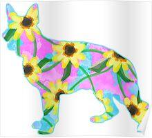 German Shepherd Watercolor Sunflowers Poster