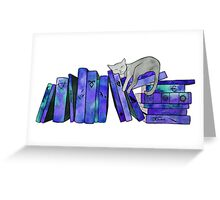 FanGirl Bookshelf Purple Greeting Card