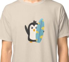 Surfboard Penguin   Classic T-Shirt