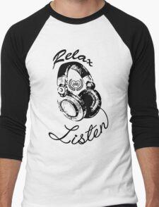 Music Relax and Listen Headphone Graphic Men's Baseball ¾ T-Shirt