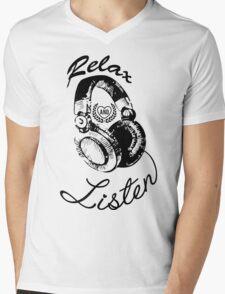 Music Relax and Listen Headphone Graphic Mens V-Neck T-Shirt