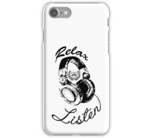 Music Relax and Listen Headphone Graphic iPhone Case/Skin