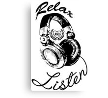 Music Relax and Listen Headphone Graphic Canvas Print