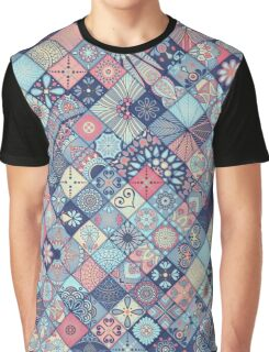Pink & Blue Boho Patchwork Pattern Graphic T-Shirt