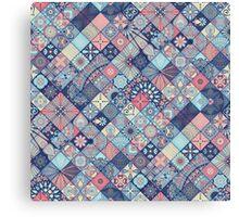 Pink & Blue Boho Patchwork Pattern Canvas Print