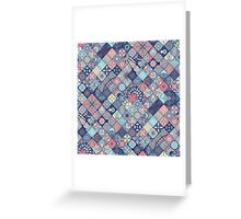 Pink & Blue Boho Patchwork Pattern Greeting Card