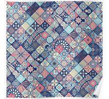 Pink & Blue Boho Patchwork Pattern Poster