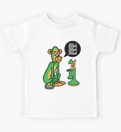 Green Monkey saying blah blah blah Kids Tee
