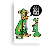 Green Monkey saying blah blah blah Canvas Print