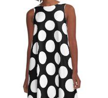 Large White Polka Dots on Black Background A-Line Dress