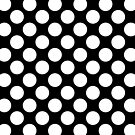 Large White Polka Dots on Black Background by Natalie Kinnear