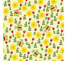 Summer pattern with flowers and butterflies Photographic Print