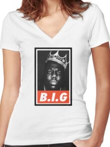 (MUSIC) Notorious Big Women's Fitted V-Neck T-Shirt