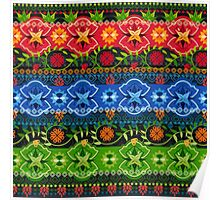 Blue, Green & Red Boho Geometric Pattern Poster