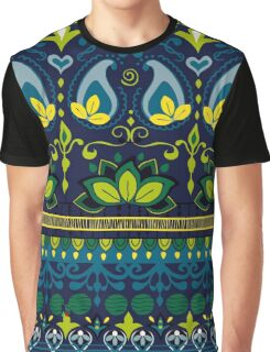 Blue & Green Boho Floral Pattern Graphic T-Shirt