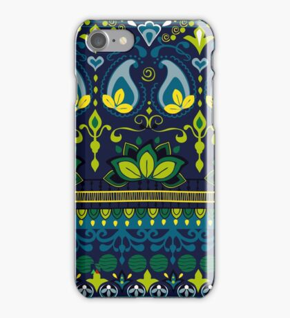 Blue & Green Boho Floral Pattern iPhone Case/Skin